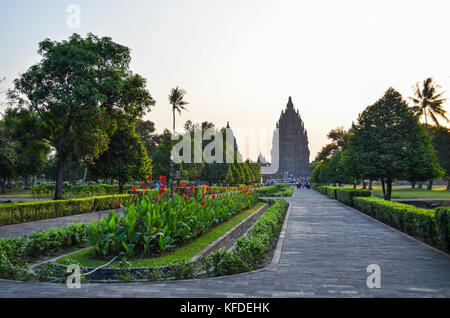 Sewu, an 8th century Mahayana Buddhist temple in the Prambanan temple complex. Silhouette of a stupa tower against - Stock Photo