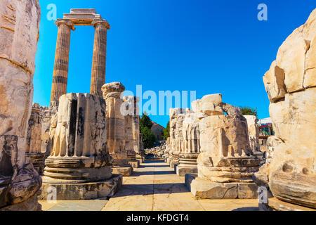 Ruins of the Apollo Temple in Didyma, Turkey. - Stock Photo