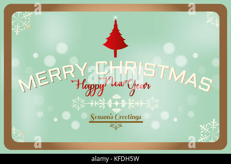 Merry Christmas, Season's Greetings and Happy New Year text label on a winter background with snowflakes, tree and - Stock Photo