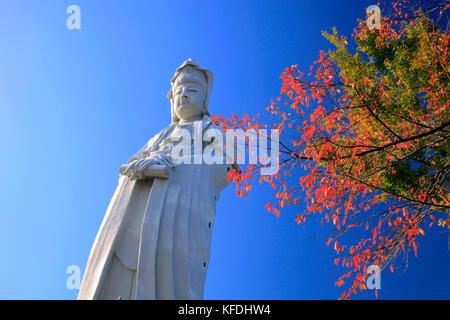Takasaki Kannon White Statue of Goddess in Takasaki city Gunma Japan - Stock Photo