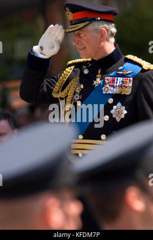 His Royal Highness The Prince of Wales, wearing the full-day ceremonial uniform of a General in the Army, with a - Stock Photo