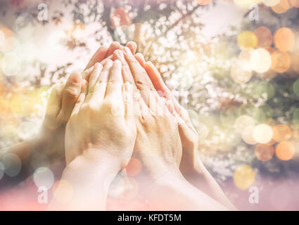 Group of diverse multi ethnic together People make high hands ,Teamwork Concept,business teamwork - Stock Photo