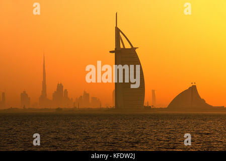 Burj Khalifa, the tallest building in the world and Burj al Arabi Hotel, Emirate Dubai, United Arab Emirates - Stock Photo