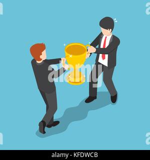 Flat 3d isometric two businessmen fighting for winner trophy. Business competition concept. - Stock Photo