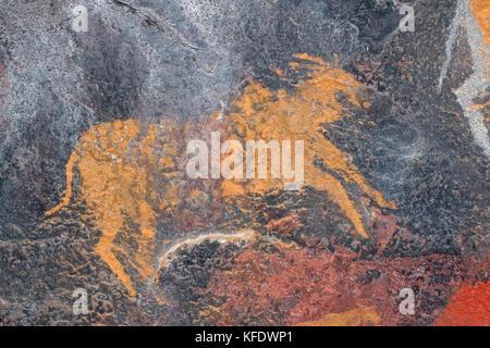 Bushmen (san) rock painting of an eland antelope, South Africa - Stock Photo