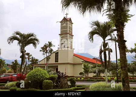 Iglesia de San Juan Bosco, Calle 470, La Fortuna, Alajuela province, Costa Rica, Central America - Stock Photo