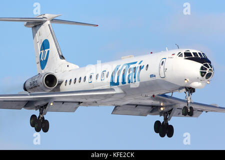 Vnukovo, Moscow Region, Russia - March 20, 2013: Utair Tupolev Tu-134 landing at Vnukovo international airport. - Stock Photo