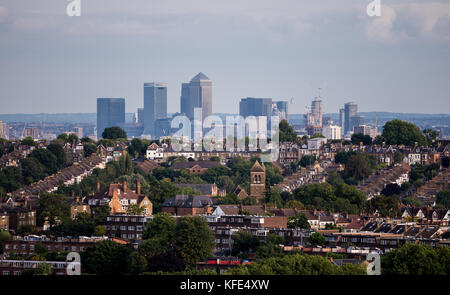 London, UK - August 24, 2017: Canary warf as seen from the Alexandra Park - Stock Photo