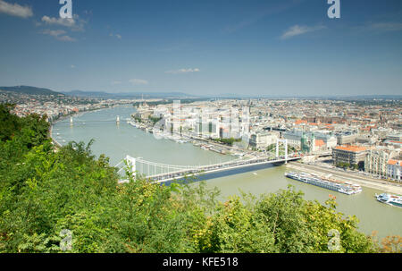 View of Danube from Citadella, Hungary - Stock Photo