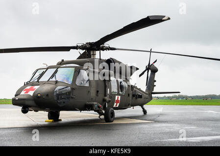 A Sikorsky UH-60 Black Hawk Medevac helicopter of the US Army at the Chièvres Air Base in Belgium. Medevac teams - Stock Photo