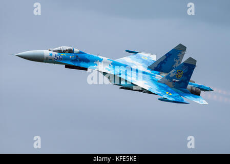A Ukrainian Air Force Sukhoi Su-27 'Flanker' fighter jet at an airshow in Fairford, United Kingdom. - Stock Photo