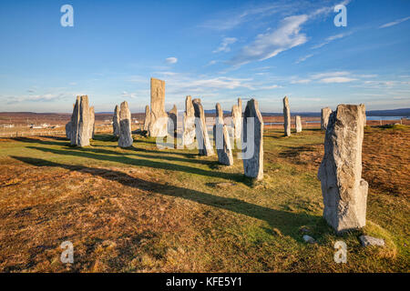 Autumn evening at the stone circle at Callanish, Isle of Lewis, Western Isles, Outer Hebrides, Scotland, UK - Stock Photo