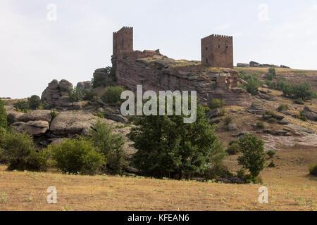 The Castillo de Zafra, a 12th-century castle built on a sandstone outcrop in Sierra de Caldereros, Campillo de Duenas, - Stock Photo