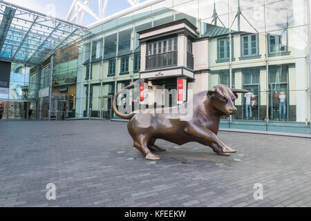 Birminghamm, UK - October 3rd, 2017 : A Bull Sculpture Outside the Front of the Bullring Shopping Centre, a landmark - Stock Photo