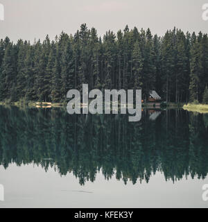 Cabin reflection with forest view - Stock Photo