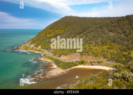 The view from Teddy's Lookout in Lorne over the Great Ocean Rd on a sunny spring day in Victoria, Australia - Stock Photo