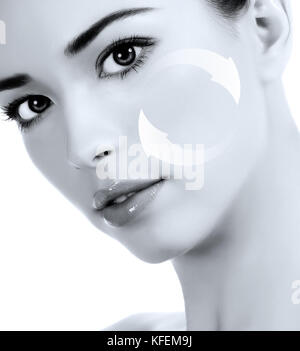 Young woman's face, antiaging concept - Stock Photo