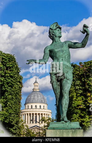 Paris-The L'Acteur Grec statue by Baron Bourgeois inside the Luxembourg Gardens. - Stock Photo