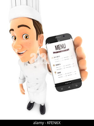 3d head chef holding smartphone, illustration with isolated white background - Stock Photo