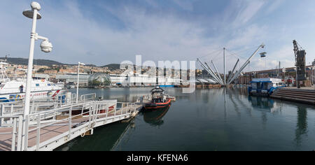 XXXL 160°panorama shot of an old harbour of Genoa, Italy (131MP) - Stock Photo