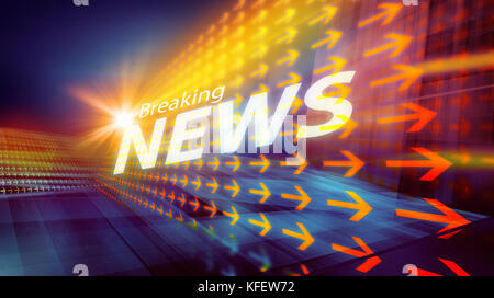 Graphical digital news background with arrows and news text. - Stock Photo