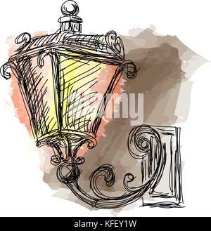 Vintage lanterns lamp, hand drawn vector illustration - Stock Photo