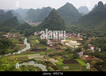 Rural landscape near the town of Yangshuo County of Guilin province in China - Stock Photo
