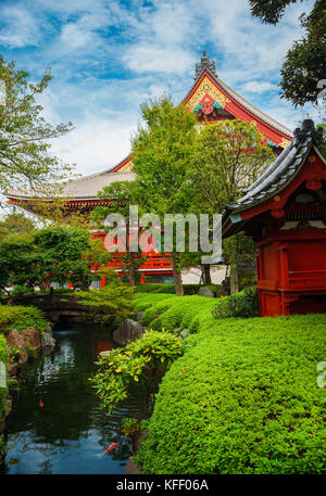 Old temples, shrines and traditional japanese garden in Asakusa district, Tokyo - Stock Photo