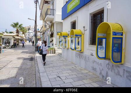 Oeffentliche Telefonboxen an der Hafenpromenade in Naxos-Stadt, Naxos, Kykladen, Aegaeis, Griechenland, Mittelmeer, - Stock Photo