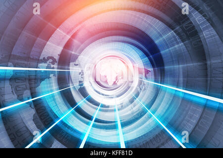 Global Digital World, Internet Connections Technology, Through the World - Stock Photo