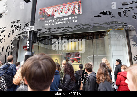 Oxford Street, London, UK. 28th October 2017. TopShop promotion for the new series of the cult TV show Stranger - Stock Photo