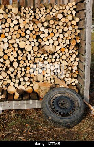 Holzstapel, aufgeschichtetes Holz fertig gesägt als Brennholz