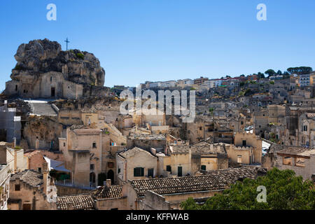 The Sasso Caveoso and Monte Errone, containing the church of Santa Maria de Idris, Matera, Basilicata, Italy - Stock Photo