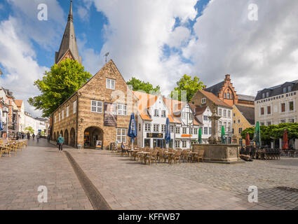 Nordermarkt square in the coastal town Flensburg at the Baltic Sea, Germany - Stock Photo