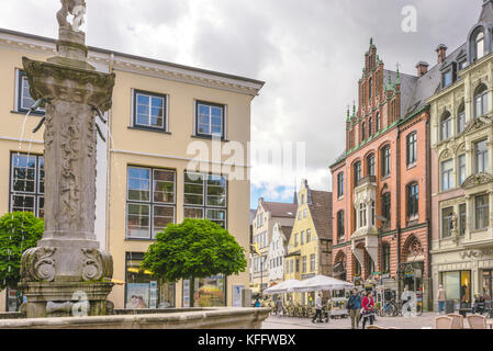 Nordermarkt square and the old brick building Schrangen in Flensburg, coastal town at the Baltic Sea, Germany - Stock Photo