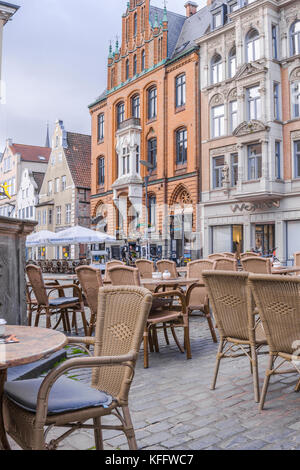 pavement café at the Nordermarkt square in the coastal town Flensburg, Baltic Sea, Germany - Stock Photo