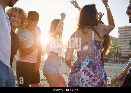 Portrait of group of friends having party on beach - Stock Photo