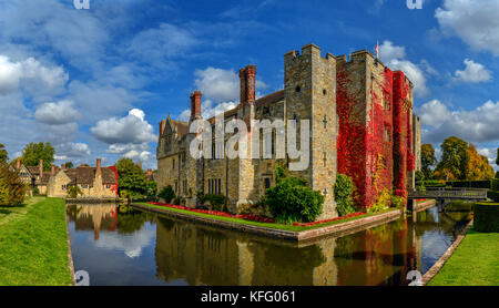 The moated, Hever Castle in Kent, United Kingdom. - Stock Photo