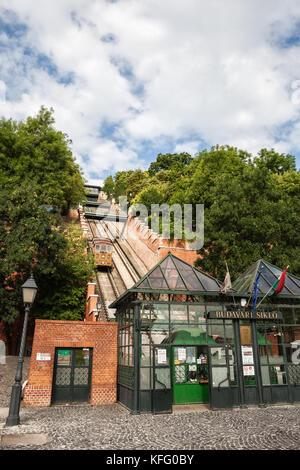 Hungary, Budapest, entrance to Budapest Castle Hill Funicular (Budavari Siklo), ticket office - Stock Photo