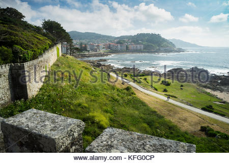 Fortified Walls of Parador de Baiona, Baiona, Spain - Stock Photo