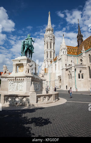 Matthias Church and St. Stephen Monument In Budapest, Hungary - Stock Photo