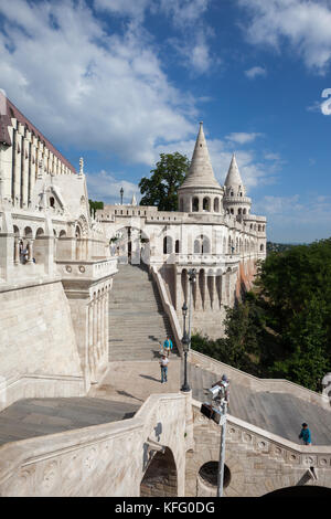 Fisherman's Bastion (Halaszbastya) in Budapest city, Hungary - Stock Photo