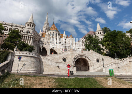 Fisherman's Bastion (Halaszbastya) in Budapest city, Hungary, Neo-Gothic and Neo-Romanesque style architecture - Stock Photo