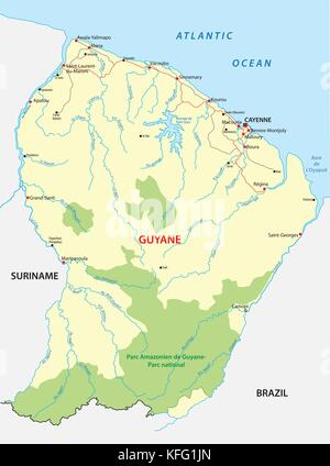 Map of Guyana Suriname and French Guiana on globe with embedded