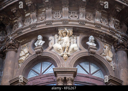 Detail of Theater on Piazza Vincenzo Bellini in Catania, Sicily, Italy. Teatro Massimo Bellini. - Stock Photo