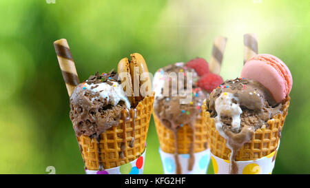 Chocolate gourmet ice creams decorated with macaroon berries and fruit against garden setting with lens flare - Stock Photo