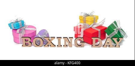 The colored boxes with words BOXING DAY, isolated on white - Stock Photo