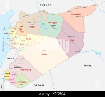 syria administrative and political vector map - Stock Photo