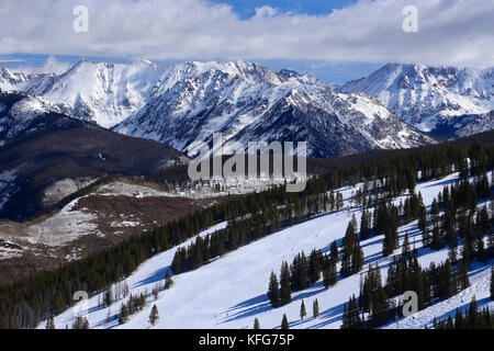 Vail ski resort in winter in the Colorado Rocky Mountains - Stock Photo