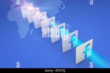 Tehran  IRAN-April 21 2016-  Global Connectivity, Social Networking, Facebook 3D Signs, 3D Illustration, 3D renderings - Stock Photo